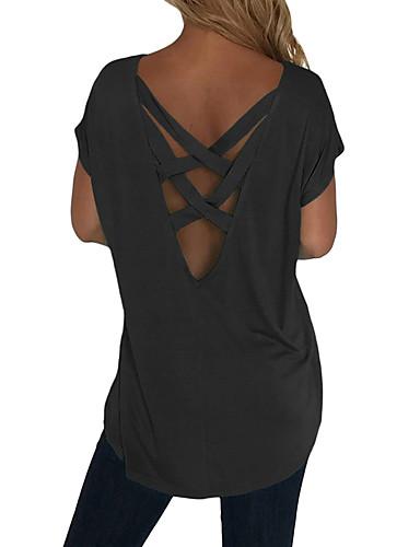 billige T-skjorter til damer-T-skjorte Dame - Ensfarget, Kryss Grunnleggende Svart