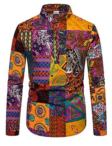 cheap Henley Shirts-Men's Daily Shirt Color Block Long Sleeve Tops Basic Rainbow