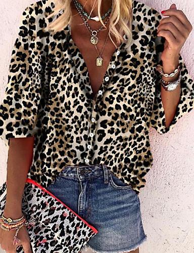 billige Dametopper-Skjorte Dame - Leopard Gul