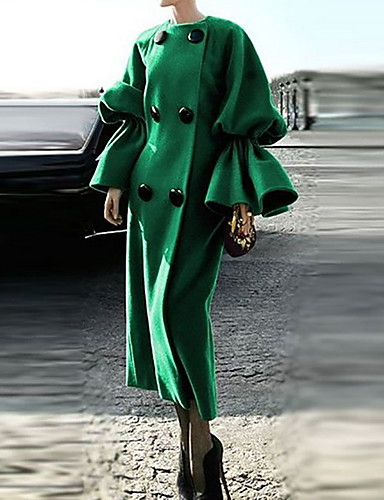 cheap ★Single'sDaySale★ Women's Clothing Bestseller-Women's Daily Fall & Winter Long Coat, Solid Colored Round Neck Long Sleeve Polyester Green