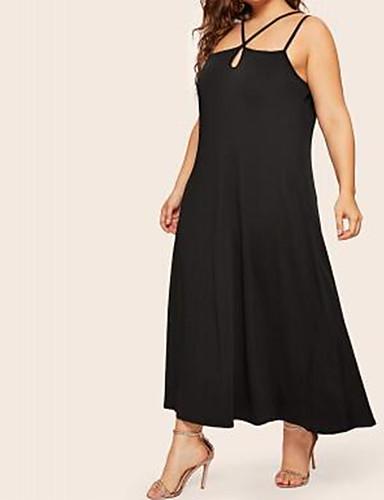 levne Maxi šaty-Dámské Cikánský Elegantní A Line Pouzdro Šaty - Jednobarevné, Šněrování Maxi Černá