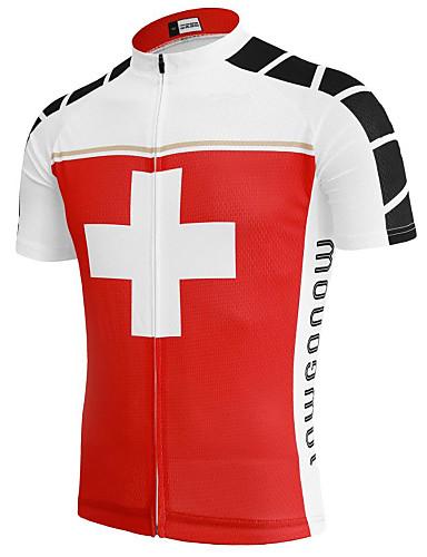 povoljno Odjeća za vožnju biciklom-21Grams Switzerland Državne zastave Muškarci Kratkih rukava Biciklistička majica - Red / White Bicikl Majice UV otporan Prozračnost Ovlaživanje Sportski Terilen Brdski biciklizam biciklom na cesti