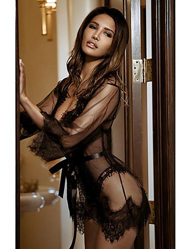 Жен. Кружева / Сетка Сексуальные платья Халат Ночное белье Однотонный Черный Белый Красный S M L