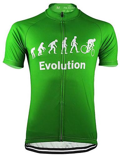 povoljno Odjeća za vožnju biciklom-21Grams Muškarci Kratkih rukava Biciklistička majica Crn Bijela Zelen Evolucija Bicikl Biciklistička majica Majice Brdski biciklizam biciklom na cesti UV otporan Prozračnost Ovlaživanje Sportski