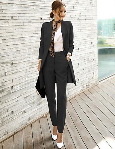 preiswerte Anzüge-Damen Anzüge, Solide V-Ausschnitt Polyester Schwarz / Khaki