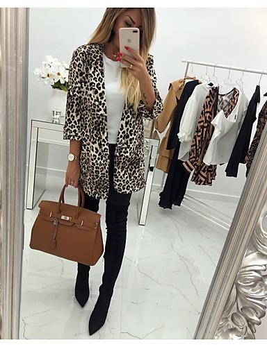levne Dámské kabáty a trenčkoty-Dámské Denní Podzim zima Standardní Kabát, Leopard Rovný límeček Dlouhý rukáv Polyester / Spandex Duhová