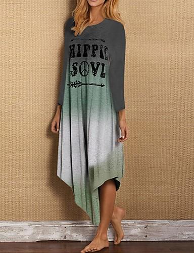 Жен. Прямое Платье - Контрастных цветов Ассиметричное