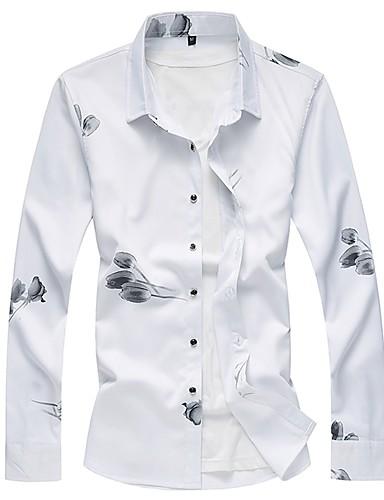 voordelige Herenoverhemden-Heren Print Overhemd Bloemen Zwart