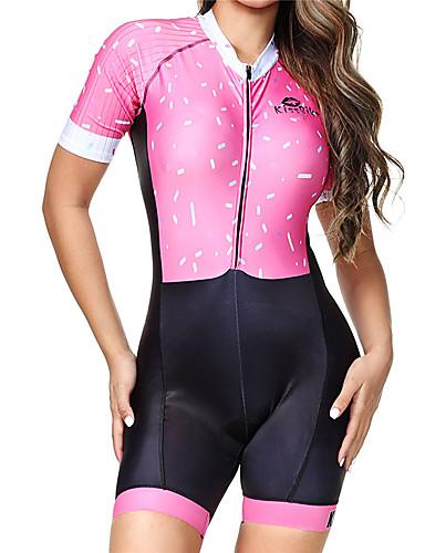 povoljno Odjeća za vožnju biciklom-BOESTALK Žene Kratkih rukava Trodjelno odijelo Pink Dungi Bicikl Prozračnost Ovlaživanje Quick dry Anatomski dizajn Povratak džep Sportski Spandex Dungi Brdski biciklizam biciklom na cesti Odjeća