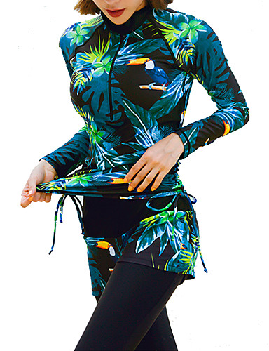 cheap Wetsuits, Diving Suits & Rash Guard Shirts-JIAAO Women's Rash Guard Dive Skin Suit Diving Suit UV Sun Protection Quick Dry 4-Piece - Diving Surfing Water Sports Flower / Floral Leaves Print Autumn / Fall Spring Summer / Stretchy