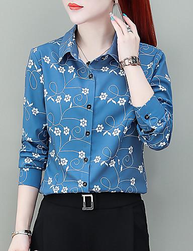 billige Skjorter til damer-Skjorte Dame - Blomstret, Trykt mønster Chinoiserie Hvit