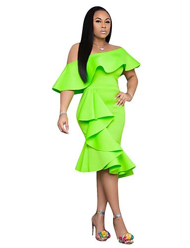voordelige Maxi-jurken-Dames Standaard Schede Jurk - Effen, Patchwork Maxi