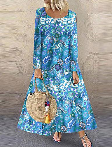 Жен. Элегантный стиль А-силуэт Платье - Цветочный принт Макси