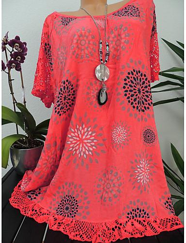 billige Dametopper-Oversized Store størrelser Skjorte Dame - Blomstret, Blonde Svart / Blonder