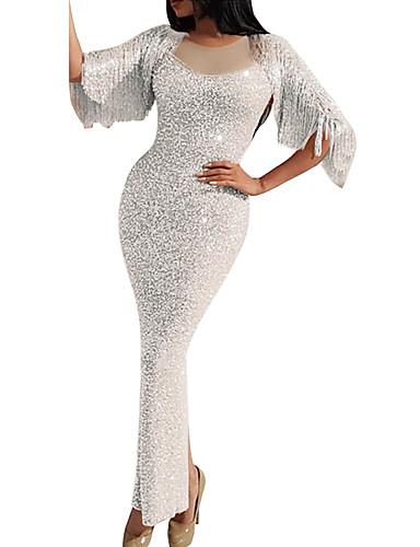 levne Maxi šaty-Dámské Sofistikované Elegantní Bodycon Pouzdro Mořská panna Šaty - Jednobarevné, Flitry Třásně Patchwork Maxi Bílá