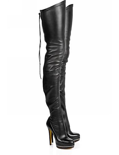 billige Damestøvler-Dame Støvler Over-The-Knee Boots Stiletthæl Rund Tå PU Lår-høye støvler Høst vinter Svart