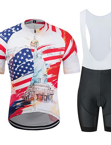povoljno Odjeća za vožnju biciklom-MUBODO American / USA Kip slobode Muškarci Kratkih rukava Biciklistička majica s kratkim tregericama - Red+Blue Bicikl Sportska odijela Prozračnost Ovlaživanje Quick dry Sportski Til Brdski