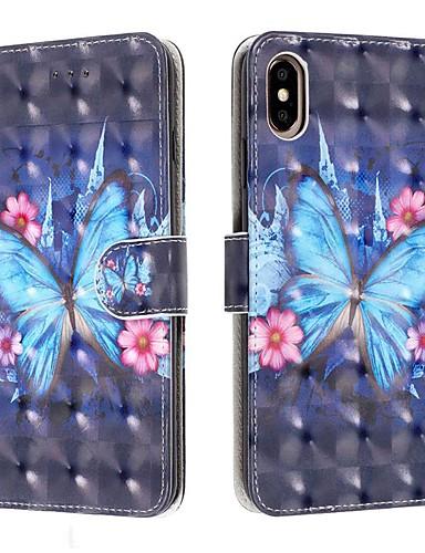 Capinha Para Apple iPhone 11 / iPhone 11 Pro / iPhone 11 Pro Max Carteira / Porta-Cartão / Antichoque Capa Proteção Completa Borboleta PU Leather