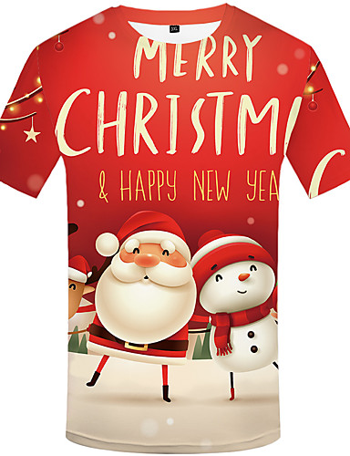 voordelige Uitverkoop-Heren Elegant Print T-shirt Portret Kerstman Rood
