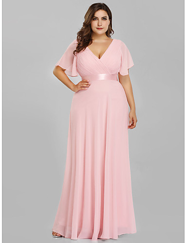 cheap Plus Size Dresses-A-Line Plus Size Pink Wedding Guest Prom Dress V Neck Short Sleeve Floor Length Chiffon Satin with Pleats Ruched 2020