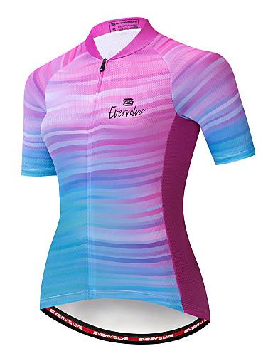 povoljno Biciklističke majice-EVERVOLVE Žene Kratkih rukava Biciklistička majica Blue + Pink Dungi Bicikl Biciklistička majica Majice Brdski biciklizam biciklom na cesti Prozračnost Ovlaživanje Quick dry Sportski Pamuk polyster