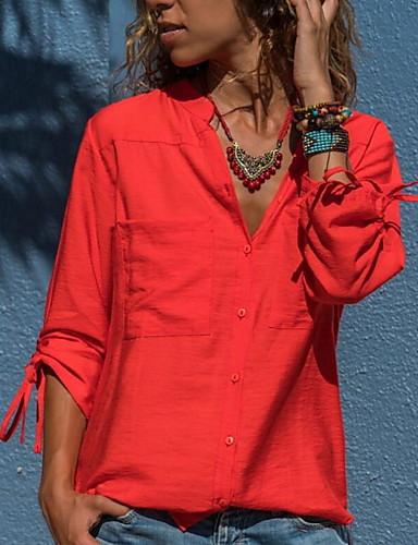 billige Dametopper-Skjorte Dame - Ensfarget Grunnleggende Oransje
