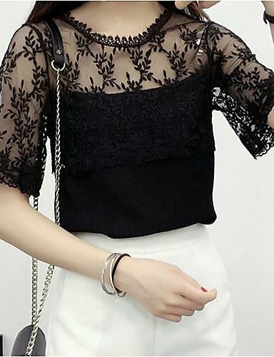 billige T-skjorter til damer-T-skjorte Dame - Ensfarget, Netting / Lace Trim Grunnleggende / Gatemote Svart