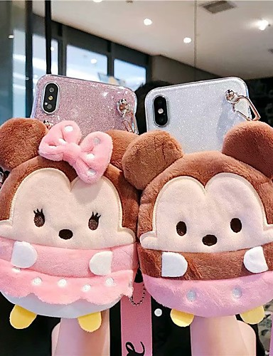 caso para apple iphone xs / iphone xr / iphone xs / x / 7 8 mais 6splus carteira max / shockproof / padrão tampa traseira animal / brilho brilho tpu