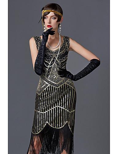 Charleston dusk 1920s Den store Gatsby De livlige 20-årene Flapper Dress Dame Palliet Kostume Svart / Gylden / Grønn / Svart Vintage Cosplay Fest Skoleball Ermeløs Knelang