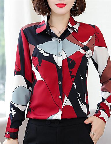 billige Dametopper-Skjorte Dame - Fargeblokk, Trykt mønster Chinoiserie Rød