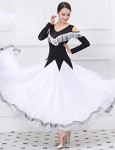 preiswerte Strictly come dancing dresses-Für den Ballsaal Kleider Damen Training / Leistung Kristall-Baumwolle / Tüll / Lycra Quaste / Kombination Langarm Normal Kleid