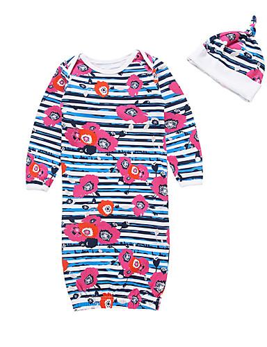 2pçs bebê Para Meninas Listrado / Floral / Geométrica Fashion / Listas / Floral Roupa de Dormir Azul