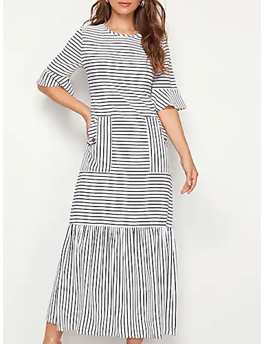 levne Maxi šaty-Dámské Elegantní Shift Šaty - Proužky, Volány Patchwork Maxi Černá a Bílá