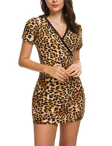 Mulheres Tubinho Bainha Vestido - Estampado, Leopardo Mini