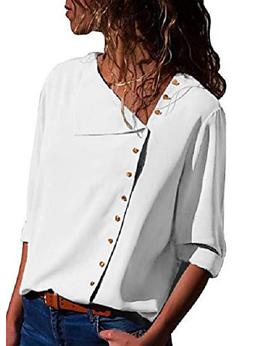 billige Dametopper-Skjorte Dame - Ensfarget Elegant Hvit