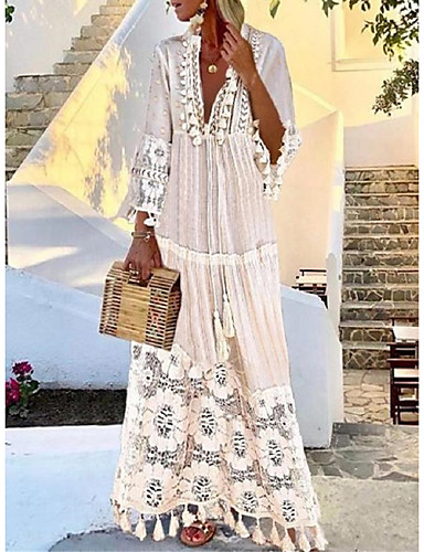 cheap Boho Dresses-Women's Boho / Beach Maxi Yellow Blushing Pink Dress Casual Boho Holiday Vacation Beach Swing Paisley Solid Colored Deep V Lace S M Loose / Belt Not Included