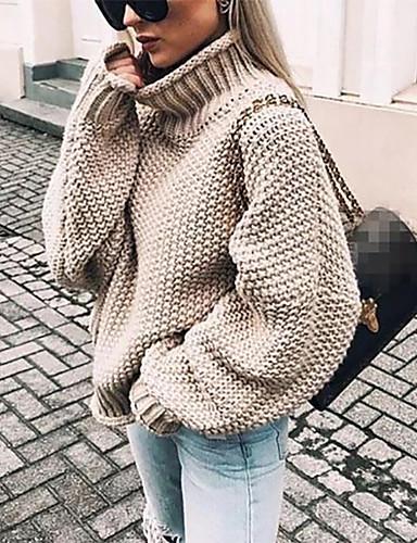 billige Trendy gensere-Dame Ensfarget Langermet Løstsittende Pullover Genserjumper, Rullekrage Høst / Vinter Svart / Hvit / Lilla S / M / L