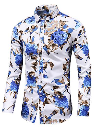 preiswerte Hemden-Herrn Blumen - Chinoiserie / Elegant Hemd Druck Schwarz