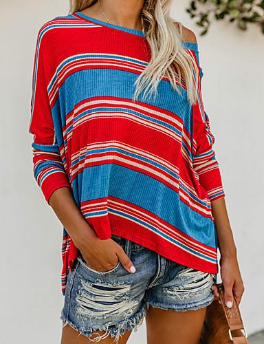 billige Dametopper-T-skjorte Dame - Fargeblokk, Trykt mønster Grunnleggende Regnbue