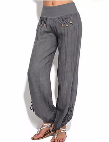 Недорогие Брюки-Жен. Уличный стиль Панталоны Брюки - Однотонный Черный Серый Винный XXXL XXXXL XXXXXL
