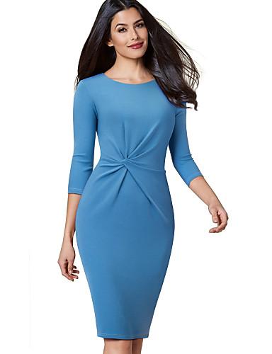 levne Pracovní šaty-Dámské Šik ven Sofistikované Bodycon Pouzdro Šaty - Jednobarevné, Plisé Délka ke kolenům