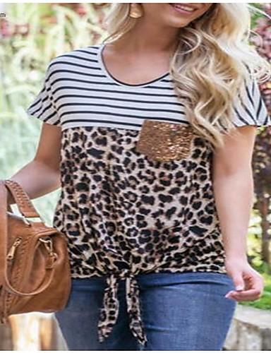 billige Dametopper-T-skjorte Dame - Stripet / Leopard, Paljetter / Sløyfe Grunnleggende / Gatemote Svart og hvit Hvit