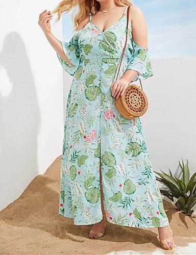 voordelige Maxi-jurken-Dames Boho Street chic Schede Skater Jurk - Bloemen, Split Maxi Tropisch blad