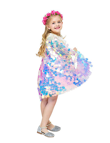 cheap Swimming Cosplay-Aqua Princess Mermaid Cloak Kid's Girls' Christmas Halloween Festival / Holiday Polyster Rainbow Carnival Costumes Mermaid