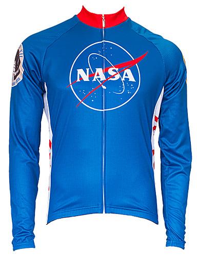 povoljno Odjeća za vožnju biciklom-21Grams American / USA NASA Muškarci Dugih rukava Biciklistička majica - Red+Blue Bicikl Majice UV otporan Prozračnost Ovlaživanje Sportski Terilen Brdski biciklizam biciklom na cesti Odjeća
