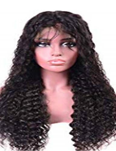 povoljno Perike s ljudskom kosom-Remy kosa Lace Front Perika stil Brazilska kosa Water Wave Crna Perika 130% Gustoća kose Crna Žene Srednja dužina Perike s ljudskom kosom beikashang