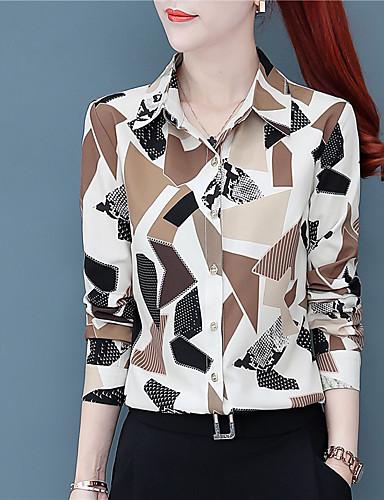 billige Dametopper-Skjorte Dame - Grafisk, Trykt mønster Chinoiserie Lysebrun