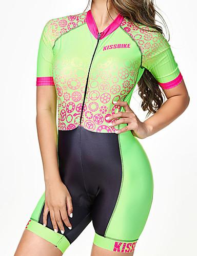 povoljno Odjeća za vožnju biciklom-BOESTALK Žene Kratkih rukava Trodjelno odijelo Crna / Green Dungi Gear Bicikl Prozračnost Ovlaživanje Quick dry Anatomski dizajn Povratak džep Sportski Spandex Dungi Brdski biciklizam biciklom na