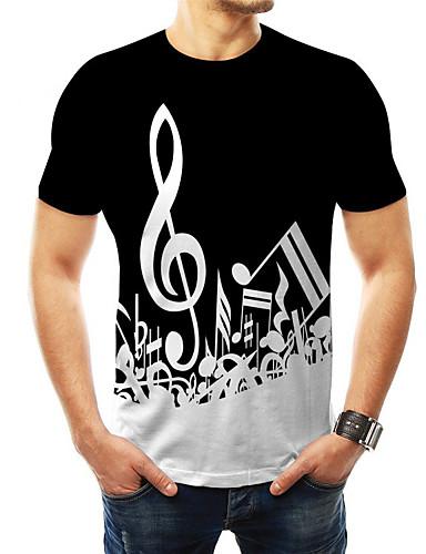 abordables Vêtements Homme-Homme Tee-shirt 3D Graphique Imprimé Hauts Basique Col Arrondi Noir Arc-en-ciel / Manches Courtes
