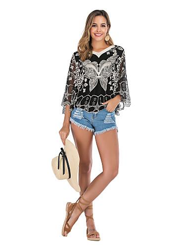 billige Skjorter til damer-Skjorte Dame - Dyr, Broderi Grunnleggende / Gatemote Sommerfugl Svart
